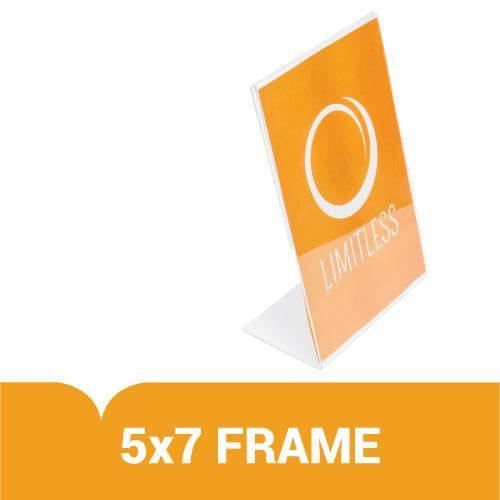 """Acrylic 5"""" x 7"""" Slanted Sign Holder with Print-Out 