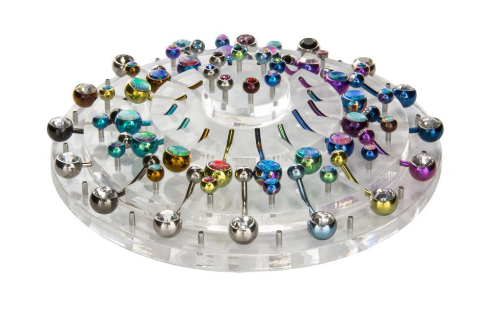 Empty 32-Piece Round Tiered Display for Belly Rings
