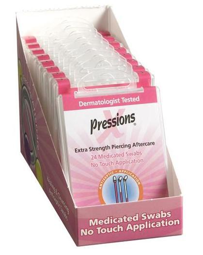 Case of 12 Packs of X-Pressions Liquid Piercing Swab in a Case You Can Keep on Any Counter Top in Your Piercing Area