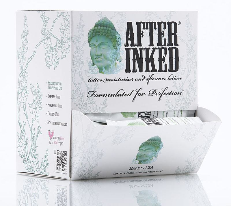 50 After Inked Tattoo Aftercare Pillow Packs in Dispenser Box