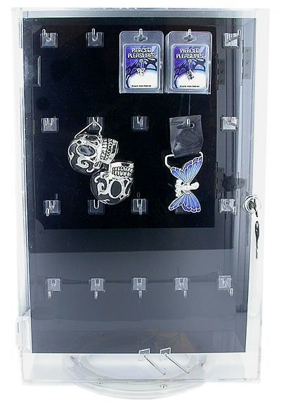 Double-Sided Spinning Empty Display Case With Peg Hooks