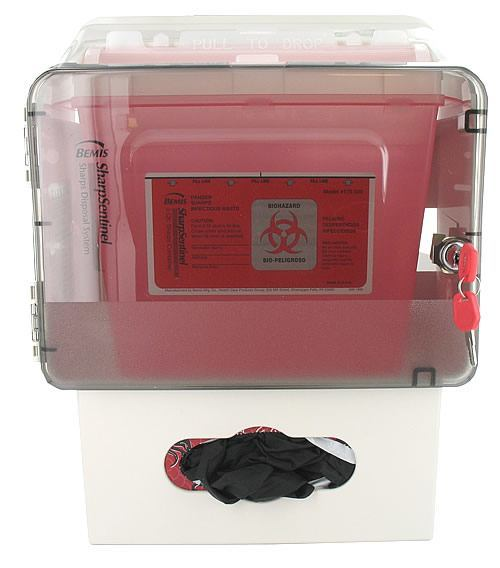 Bemis Sharps Trio: Lockable Cabinet, 5 Quart Sharps Container and Glove Box Holder